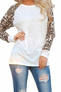 Try out this great leopard t-shirt if you want to wear something casual, yet different.Details: Tops Long sleeve leopard O-neck Loose Fabric: Cotton Free Shippi
