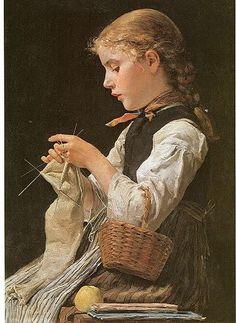 Albert Anker (Swiss artist, 1831-1910) Girl Knitting 1884