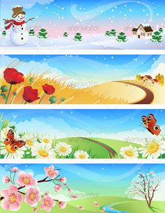 Four seasons vector image on VectorStock Vector Graphics, Vector Art, Four Seasons Art, Landscape Illustration, Illustration Flower, Winter Springs, Winter Landscape, Green Landscape, Christmas Design