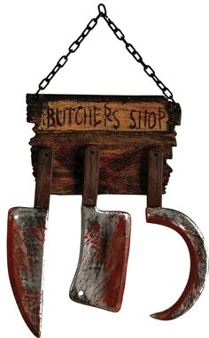 Butcher shop sign sure to take the breath away from anyone who sees it! This is made of plastic but looks very realistic! The black metal looking chain is attached to the Butcher Shop sign, which appe