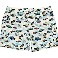 White Car Print Swim Shorts - River Island