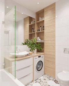 Idée décoration Salle de bain Salle de bain blanche carreaux de ciment bois clair