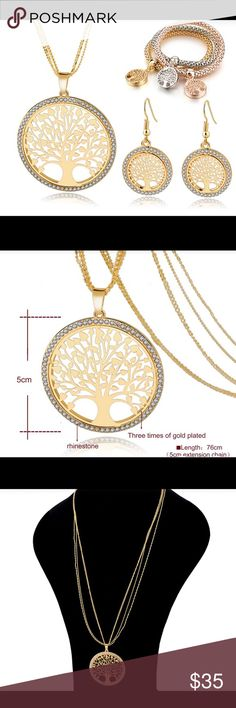 Jewelry set Gold Plated Tree Of Life Jewelry Necklace Earrings Bracelets Set Jewelry