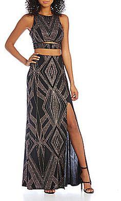 Jump Glitter Pattern High-Neckline Faux Two-Piece Gown