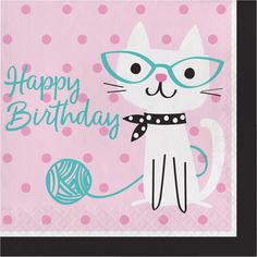 Check out the deal on Purr-Fect Kitty Cat Party Happy Birthday Lunch Napkins at Party at Lewis Elegant Party Supplies, Plastic Dinnerware, Paper Plates and Napkins Kitty Party, Party Napkins, Napkins Set, Beverage Napkins, Cat Themed Parties, Party Blowers, Cat Birthday, Birthday Lunch, Happy Birthday