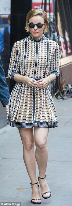 Stylish appearance: The Notebook star showed off her legs in a fit and flare mini-dress and ankle-strap stilettos