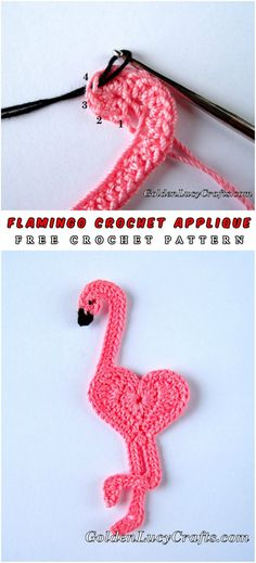 Flamingo Crochet Applique -Dear crochet fans, today we present very fast and quite easy to do Flamingo Applique, tutorial and pattern in one. Body and both legs, and next - how to make half double crochet three together. #crochet #freepattern