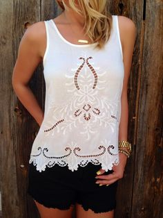 Cutout Embroidered Top