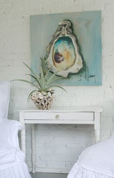 Jane Coslick Cottages... Coslick loves to use Bellamy's paintings in her coastal décor cottages for sale. I can see why. Bellamy Murphy does things other than paint oysters, too. Low country artist. bellamyart.com