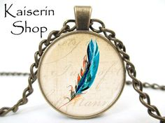 Feather Necklace, Bird Neckkace, Pendant, Charm, Jewelry by KaiserinShop on Etsy