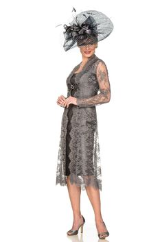 Mother of the Bride/Groom - Grey Lace Coat and Silk Dress Mother of the Bride/Groom outfit - Joyce Young By Storm Mother Of Bride Outfits, Mother Of The Bride, Joyce Young, Brown Outfit, Special Occasion Outfits, Groom Dress, French Lace, Silk Dress, Designer Dresses