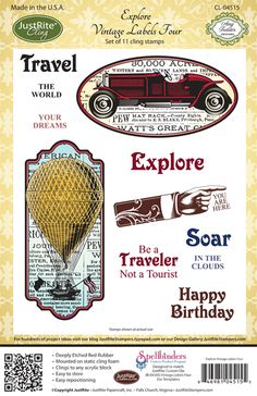 JustRite - Cling Mounted Rubber Stamps - Explore Vintage Labels Four at Scrapbook.com