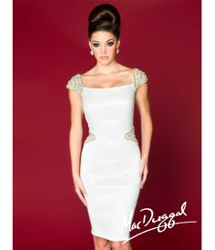 Mac Duggal 2014 Prom Dresses - Ivory & Beaded Cap Sleeve Short Prom Dress - Unique Vintage