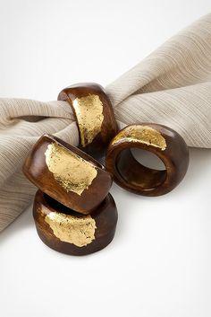 Gold Leaf Wooden Napkin Ring Inspired DIY