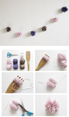 DIY garland with yarn balls and a fork Diy Garland, Pom Pom Garland, Garlands, Garland Ideas, Diy Projects To Try, Craft Projects, Diy And Crafts, Arts And Crafts, Crafty Craft