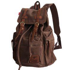 Men's Women's Vintage Canvas Leather Backpack Rucksack School Satchel Hiking Bag