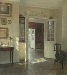 Carl Holsøe (Danish painter) 1863 - 1935 Interiør i Solskin (Sunlit Interior), s. Oil Canvas, Aarhus, Interior Paint, Beautiful Paintings, Oeuvre D'art, Impressionism, Painting & Drawing, Illustration Art, Illustrations