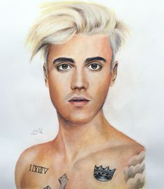 Justin Bieber - Watercolour paint and pencil, 2016, Victoria Mead   www.vmportraits.co.uk  #justinbieber #bieber #portrait #artist #art