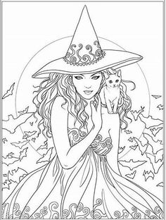 Here are the Awesome Halloween Coloring Pages For Adults Colouring Pages. This post about Awesome Halloween Coloring Pages For Adults Colouring Pages . Free Halloween Coloring Pages, Witch Coloring Pages, Coloring Pages For Grown Ups, Cat Coloring Page, Printable Adult Coloring Pages, Coloring Pages To Print, Coloring Books, Coloring Sheets, Adult Colouring Pages