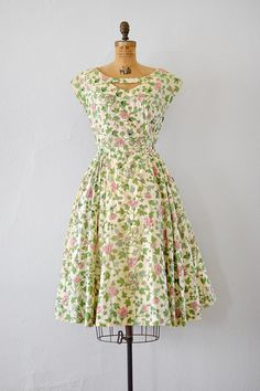 vintage 1950s silk cream floral sequined dress