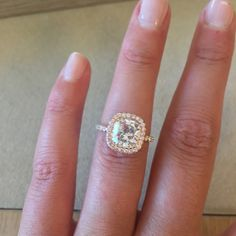2.01 Carat Cushion Cut Diamond Ring from The RealReal with pink diamond halo, dream ring, ring selfie, i do