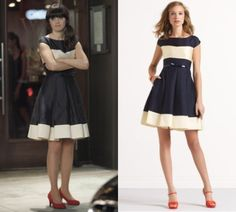 "Oooh Jess wore this navy and white (off-white? maybe cream?) fit and flare dress in tonight's episode of New Girl (season 1 episode 18) ""Fancyman Part 2"". I love this dress…so does everyone else! It seems to be sold out everywhere! Kate Spade Adette Dress Worn with red heels, the bow belt that comes with the dress and a side-pony! Love! Get the look for less with this Modcloth dress!"