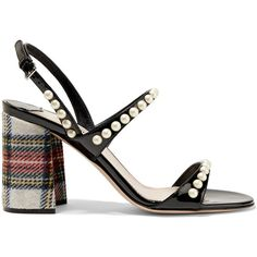 Miu Miu Faux pearl-embellished patent-leather and tartan tweed sandals (€635) ❤ liked on Polyvore featuring shoes, sandals, heels, strap heel sandals, black block-heel sandals, heeled sandals, block heel shoes and block heel sandals