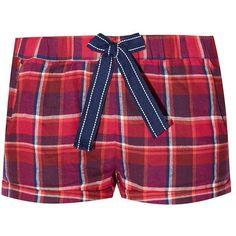 Burgundy Hudson and Rose Bow Front Check Pyjama Shorts ($6.15) ❤ liked on Polyvore featuring shorts, pajamas, bottoms, pyjama and lullabies
