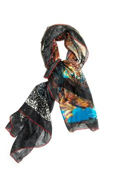 """Multicolor rectangular scarf with red-stitched border. This very soft and lightweight piece is perfect as a spring scarf or summer shawl.    Measures 36""""W x 76""""L.   Multicolor Scarf by Kaskól. Accessories - Scarves & Wraps Dallas, Texas"""