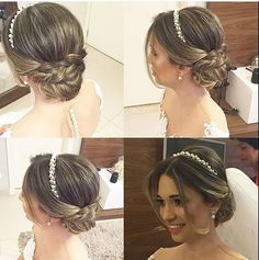 wedding hairstyles with headband Lindo Janaina Mendes via dresses_gowns_fashion dresses_gowns_fashion dresses_gowns_fashion Wedding Tiara Hairstyles, Bridal Hair Updo, Wedding Hair And Makeup, Wedding Hair Accessories, Bride Hairstyles, Headband Hairstyles, Hair Makeup, Headband Wedding Hair, Updo With Headband