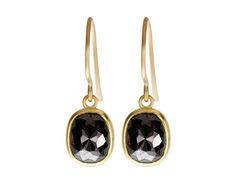 18K Gold Chocolate Brown Opaque Diamond Earrings #me&ro