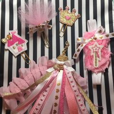 New Pretty princess items added to the Pretty in Pink planner Tassel set, paper clip, planner paper clip, planner charm, pink gold planner charm, sparkle planner, glam planner, planner Band princess planner, crown paper clip, castle clip