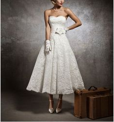 White/Ivory Sweetheart Short Lace Tea Length Wedding Dress by JUMX, $130.00