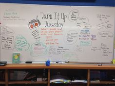 Turn it u Tuesday // music // morning message Classroom Whiteboard, Classroom Board, Classroom Ideas, Interactive Whiteboard, Future Classroom, Bulletin Boards, Days Of The Week Activities, Morning Activities, Daily Writing Prompts