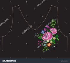 Embroidery colorful simplified ethnic neck line floral pattern with pink roses. Vector asymmetrical traditional folk ornament with flowers on black background for design.