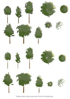 Photoshop watercolour trees - free download from First In Architecture