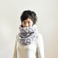 Chunky Knit Cowl Hood Hooded Scarf Snood Cowl Scarf by IRISMINT