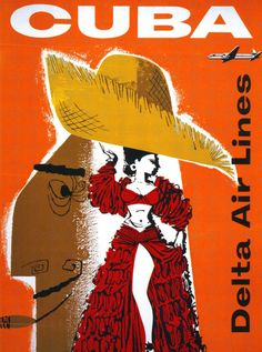 Vintage Travel Poster - Cuba - (Delta Air Lines).