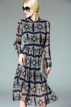 WOMEN'S PRINT AND FLORAL LONG SLEEVE COCKTAIL PARTY MIDI DRESS