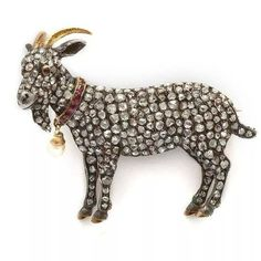 Diamond Goat Brooch Pin