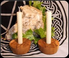 Pair of Pentagram Candle Holders in Muhuhu wood with Handrolled Beeswax Ivory Candles Altar Set Unique Gifts Pagan Wiccan - New Moon Enterprise  - 1