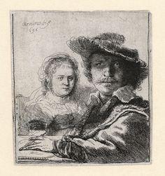 Self-portrait with Saskia | 1636 | Etching, state III (B 19)