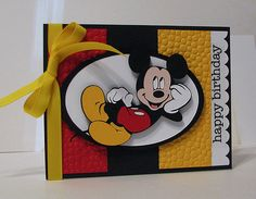 Card created for Card Patterns Sketch 133 with my Cricut machine, Mickey and Friends cartridge, cuttlebug, Stampin' Up! cardstock, and SRM Stickers. Theme Mickey, Mickey Birthday, Kids Birthday Cards, Disney Mickey, Happy Birthday, Birthday Ideas, Disney Scrapbook Pages, Scrapbook Cards, Scrapbook Cover