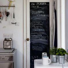 Chalkboards In The Kitchen: Love the pantry door chalkboard. It's the best.