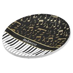 Elegant golden music notes piano keys 9 inch paper plate with customizable text for the pianist or musician. Perfect to use for a birthday party or serving at a performance.