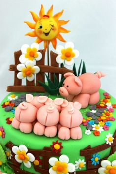 Three Little Pigs Cake - The girls would get a kick out of their little bottoms! Fancy Cakes, Cute Cakes, Cake Original, Decors Pate A Sucre, Piggy Cake, Farm Animal Cakes, Farm Cake, Fondant Animals, Gateaux Cake