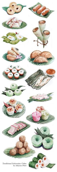 Tradisional cakes of Indonesia. --Jajan Pasar (kue basah) khas Indonesia by ~artemiscrow on deviantART
