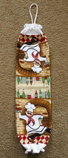 Italian Pizza Fat Chef print towel plastic grocery bag holder handmade #Handmade