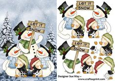 Snowman Parade! Card Front and Decoupage