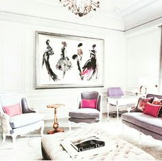I love how happy the pink gray and white art and furnishings make me in this living room. Perf girls lounge spot